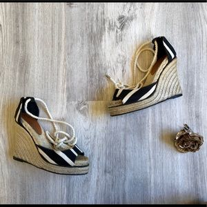 Cute Stripped Kate Spade Lace Up Wedges Size 6